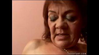 Hairy granny Marsha fucks in POV
