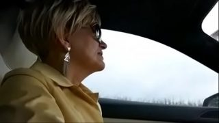 Hot granny milf from hotpornocams.com gives head in public